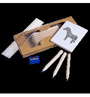 Набор карандашей с раскраской, точилкой и линейкой